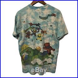 Vintage Grateful Dead 1993 Parachuting Bears L T Shirt Liquid Blue Greg Genrich