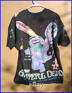 Vintage Grateful Dead 90's Standing On The Moon All Over Print T Shirt Black XL