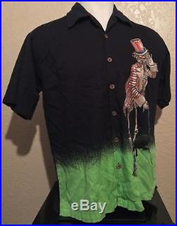 Vintage Grateful Dead David Carey Men's Large Uncle Sam Hawaiian Shirt Rare L