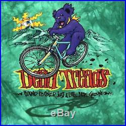 Vintage Grateful Dead Large 1995 T Shirt Dead Treads Bear Tie Dye Liquid Blue