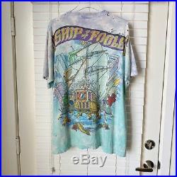 Vintage Grateful Dead Ship Of Fools 90s VTG Thrashed Tie Dye T Shirt XL