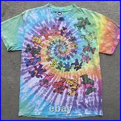 Vintage Grateful Dead T-Shirt 90s Spiral Dancing Bears XL Liquid Blue Tie Dye