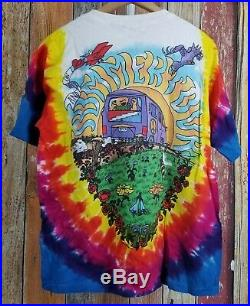 Vintage Grateful Dead The Bus Came By T Shirt 1994 Tie Dye Liquid Blue Sz Medium