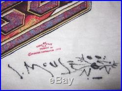 Vintage Grateful Dead Tiger Rose 1975 T-Shirt signed by Stanley Mouse