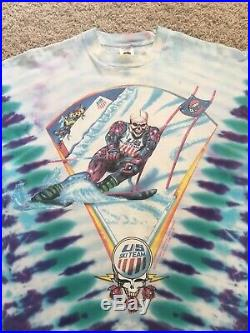 Vintage Grateful Dead USA Ski Team T Shirt Long Sleeve 1994/95 Tie Dye Sz XL