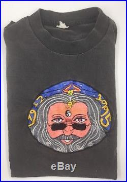 Vintage Jerry Garcia Grateful Dead Embroidered Black T-Shirt XL 46 RARE