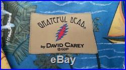 Vintage Men's XL Grateful Dead David Carey Hawaiian Button Down Shirt Bears Blue