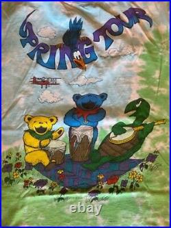 Vintage T Shirt Grateful Dead Dancing Bears Spring Tour 2 sided Liquid Blue