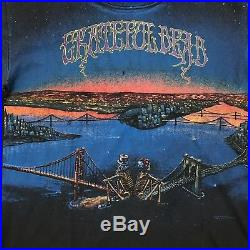 Vtg 1990 Grateful Dead Large T shirt All Over Art Bridges Faded Single Stitch