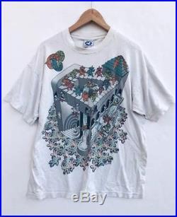 9bca66c8d Vtg Grateful Dead Bears Optical MC Escher Style T-shirt Liquid Blue DOUBLE  SIDED