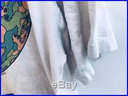 Vtg Grateful Dead Bears Optical MC Escher Style T-shirt Liquid Blue DOUBLE SIDED