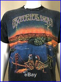 Vtg Rare 1990 Grateful Dead T Shirt San Francisco New York Sz XL Wild Oats USA