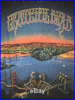 Vtg Rare 90 Grateful Dead Tour Shirt Golden Gate Bridge Garcia Dancing Skeletons